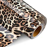 Leopard Patterned Heat Transfer Vinyl Iron on HTV Vinyl Animal Print Heat Transfer Vinyl for T-Shirt Hats Decoration DIY Craft Projects, Light Brown (10 Inch x 10 Feet)
