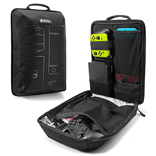 tomtoc Storage Travel Backpack for Nintendo Switch Console & Pro Controller, Desk Dock, AC Adapter Charger, Original Lightweight Carrying Bag for Nintendo Switch Accessory