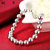 Regeek Strand Bracelets - AGLOVER Silver 8mm 925 Bead Bracelet Fashion Charm Jewelry for Women Lady Temperament Nice Pretty Wedding Birthday Gift