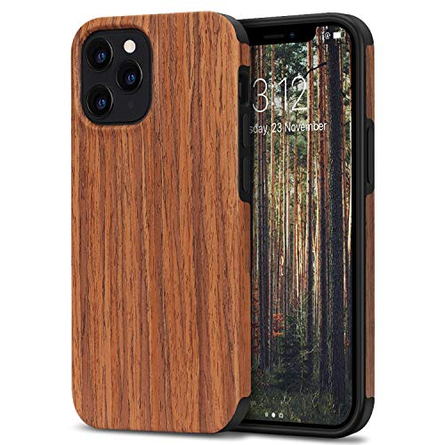 TENDLIN Compatible with iPhone 12 Pro Max Case Wood Grain Outside Design TPU Hybrid Case (Red Sandalwood)