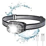 Stirnlampe LED, Superheller Stirnlampen Aufladbar USB Kopflampe mit Rotlicht 6 Modus, Zoombar Stirnlampe Laufen Wasserresistent 210LM 1200mAH für Joggen, Laufen, Campen, Radfahren, Angeln, Kinder
