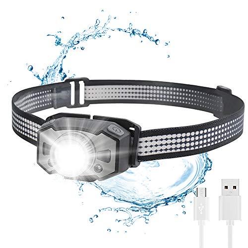 Linterna frontal LED, superbrillante, recargable, USB, con 6 modos, con zoom, resistente al agua, 210 lm, 1200 mAh, para correr, camping, ciclismo, pesca, niños