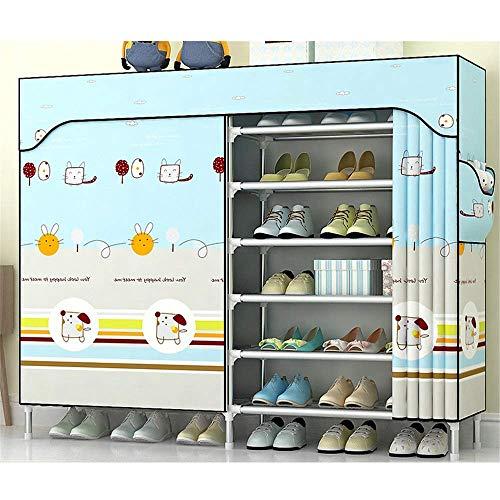 Home Equipment Tragbarer Schuhablage-Organizer Einfacher SchuhregalPlastischer Stahlrahmen Zusammenbau Multifunktionaler zweireihiger AufbewahrungsschuhregalMehrschichtiger wirtschaftlicher Schuhsc