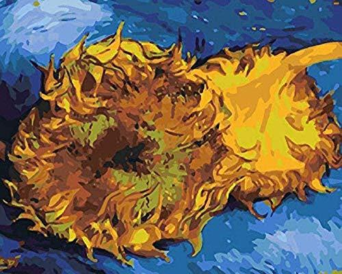 Kit de pintura por números Flor amarilla marchita - Pintura al óleo de bricolaje para adultos Pinturas al óleo hechas a mapara adultos y niñosRegalos creativos - 40x50cm (Sin marco)