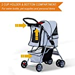 PawHut Pet 4 Wheels Travel Stroller Dog Cat Pushchair Trolley Puppy Jogger Folding Carrier (Grey) 14