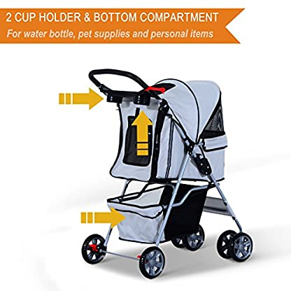 PawHut Pet 4 Wheels Travel Stroller Dog Cat Pushchair Trolley Puppy Jogger Folding Carrier (Grey) 5
