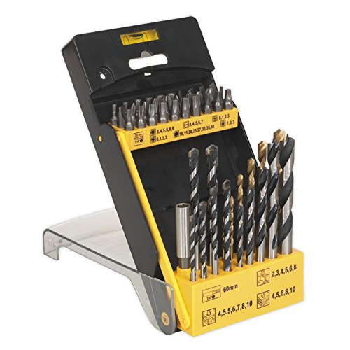 Sealey Drill Bit & Accessory Set 48 Piece | Masonry Wood HSS Hex 1/4'