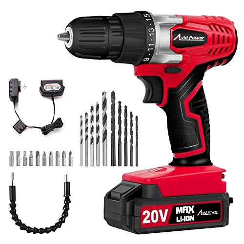 AVID POWER 20V MAX Lithium Ion Cordless Drill, Power Drill Set with...