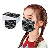 Daringjourney 50PC Child Kids Disposable Face_mask Camouflage Coloured Print 3 Ply Adjustable Ear Loops Mouth Shield High Filtration Breathable Dust-proof Face Covering for School Outdoor