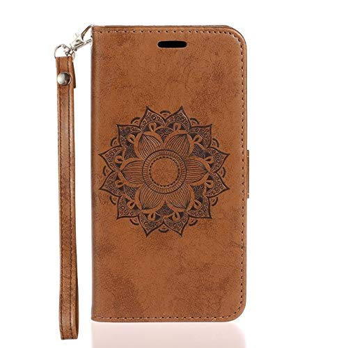 CHENDX Caso para Samsung Galaxy A30, Mandala Flower Patry Stattern Funda telefónica, Cartera de Cuero con Tarjeta de crédito y Ranura en Efectivo (Color : Brown)