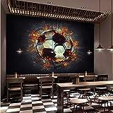Jukunlun Tapete Individuelle 3D-Wandtapete Coole 3D-Stereo-Flammen-Fußball-Fototapete Themenleiste Internetbar Ktv-Hintergrund Fresko-300X210Cm