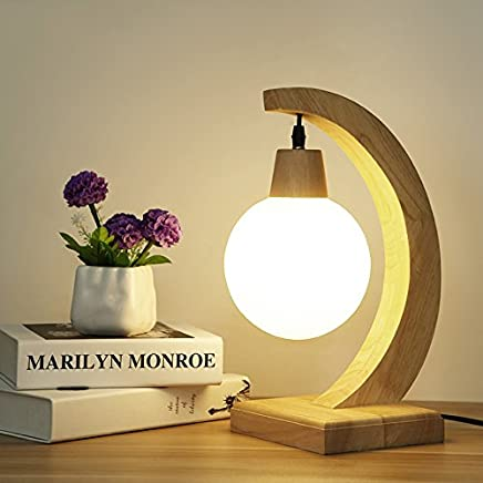 MILUCE モダンなベッドサイドランプシンプルな創造的な個性ソリッドウッドテーブルランプ暖かい木製のベッドルームルームスタディ装飾照明