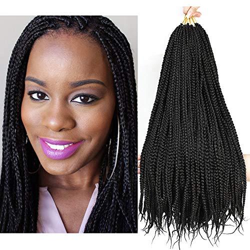 Lihui 7Pcs/lot Medium Box Braids Crochet Hair Crochet Braids Synthetic Hair Crochet Braiding Hair Exensions 20 Strands/pack (24Inch, 2)