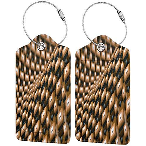 FULIYA - Juego de 2 etiquetas de cuero de alta gama para maletas, identificador de viaje para bolsos y equipaje, para hombres y mujeres, estructura, cubos, relieve, 3D, volumen