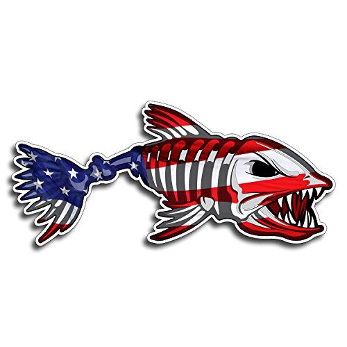 USA Bone Fish Sticker - Patriotic American Flag Fishing Decal Vinyl Die Cut