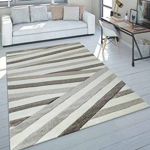 Paco Home Alfombra Salón En Colores Pastel, Diseño Moderno Rombos, Triángulo Y Zig Zag, tamaño:160x230 cm, Color:Beige 2