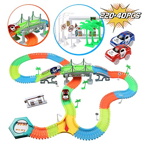 infinitoo Autorennbahn, Magic Trucks Auto Spielset, Inclusive 220 Stück Tracks & 2 E-Autos & 40 Zubehör, Rennbahn Racetrack Spielset für Kinder ab 3 Jahre alt