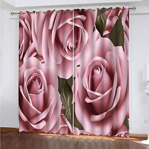 MEKVF Vorhänge Blackout Eyelet Vorhang, 3D Printing Shading Vorhänge Balkon Vorhänge Schlafzimmer Salon Fenster,2 Panel 140x160cm(Wxl) Rosa Rosenblume