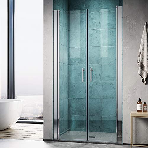 SONNI Duschkabine Duschtür 80 cm Nischentür Pendeltür Duschkabine Dusche Höhe: 195 cm Duschabtrennung Duschtür Doppel Duschwand