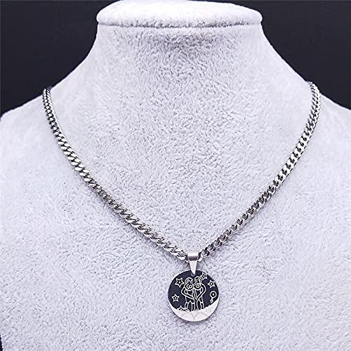 Focisa Collar Colgante Cadena Collares Hombre Mujer Collar De 12 Constelaciones De Acero Inoxidable con Cadena De Géminis, Collares para Mujer, Gargantilla De Hip Hop, Collares, Joyería,