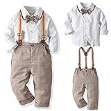 SANMIO Baby Jungen Bekleidungssets, Hemd + Hose + Fliege Krawatte Kinder Anzug, Braun, Gr.- Etikette 130/Körpergröße 120-130 CM
