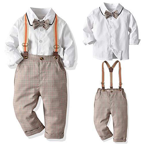 SANMIO Baby Jungen Bekleidungssets, Hemd + Hose + Fliege Krawatte Kinder Anzug, Braun, Gr.- Etikette 90/Körpergröße 80-90 CM
