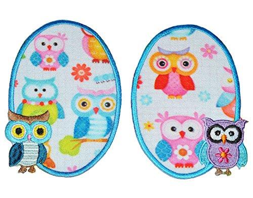 2 tlg. Set - ovaler Flicken / Bügelbild - Eule bunt - 7,5 cm * 10 cm - oval - Bügelbilder Eulen - Aufnäher zum Bügeln und Aufnähen / Applikation für Mädchen Kinder
