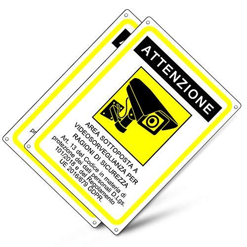 Cartello area videosorvegliata | Telecamera videosorveglianza per negozio e proprietà privata |GDPR 2020 | plastica (20x15 cm) (2 Pezzi Cartello Area Videosorvegliata)