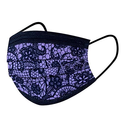 Jaysis Atmungsaktive 3 Lagig Einweg mit 50PC Lace Druck für Erwachsene Einheitsgröße Multifunktionstuch Halstuch Safe Protaction Gesichtsschutz Face-Schutz Anti-Fog Anti Staub