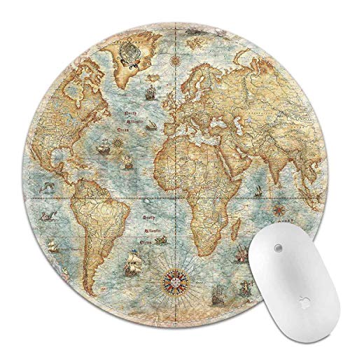 Mouse Pad map Mouse Pad Round Art Print Comfort Rubber Edge Game Mouse Pad Computer Laptop (map)