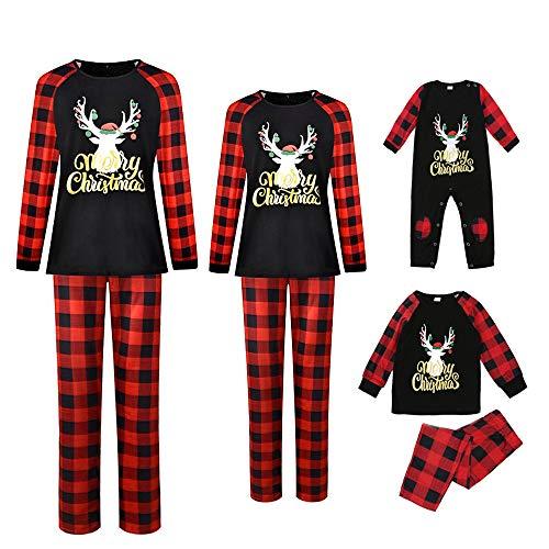 Holiday Christmas Family Pajamas Sets Women Men Cotton Plaid Reindeer Sleepwear Boys Girls Long Sleeve Xmas Pjs (Men, Men:XL)