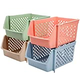 Yarlung 4 Pack Plastic Stackable Storage Baskets, Semi Open Bins Organizer Shelf Baskets for Food, Snacks, Fruits, Bottles, Toys, Toiletries, 4 Colors, 15x10x7 Inch