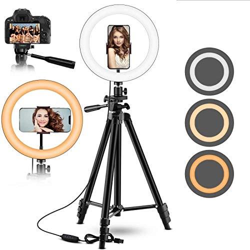 Luz de anillo led de 10 pulgadas para teléfono móvil, luz de anillo de belleza selfie de ancla de transmisión en vivo, luz de relleno circular