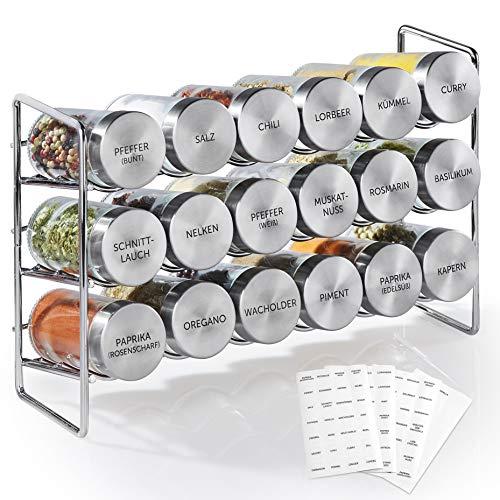 Vomeno Gewürzregal mit 18 Edelstahl Gläsern – Universal Küchen-Organizer inkl. Gewürz-Gläser – Hochwertiger Gewürzständer/Kräuter-Regal im Set (leer)