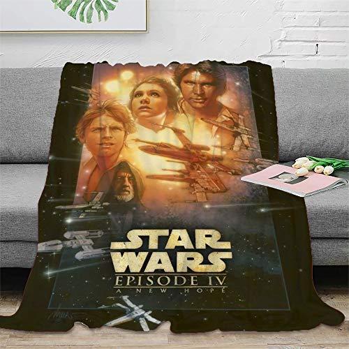 STTYE Manta de felpa de Star Wars con dibujos animados, ligera, se puede utilizar como sábana de cama, manta de viaje, colcha de siesta diaria, incluso cojín de sofá. 180 x 230 cm.