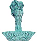 Fu Store Mermaid Tail Blanket Crochet Mermaid Blanket for Adult Teens, Super Soft All Seasons Sofa Sleeping Blanket, Cool Birthday Wedding Christmas Mother's Gift, 71 x 35 Inches, Mint Green