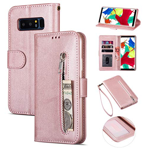 Zipper Wallet Case with Black Dual-use Pen for Samsung Galaxy Note 8,Aoucase Money Coin Pocket Card Holder Shock Resistant Strap Purse PU Leather Case for Samsung Galaxy Note 8 - Rose Gold
