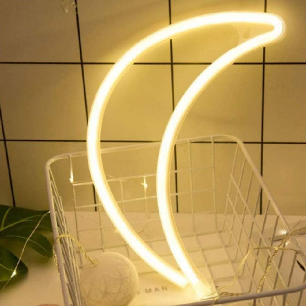 ENUOLI Warm White Moon Neon Light LED Moon Shaped Neon Sign Decor Light Wall Decor Battery/USB Operated Neon Wall Light for Christmas Birthday Party Kids Room Living Room Wedding Party Decor …