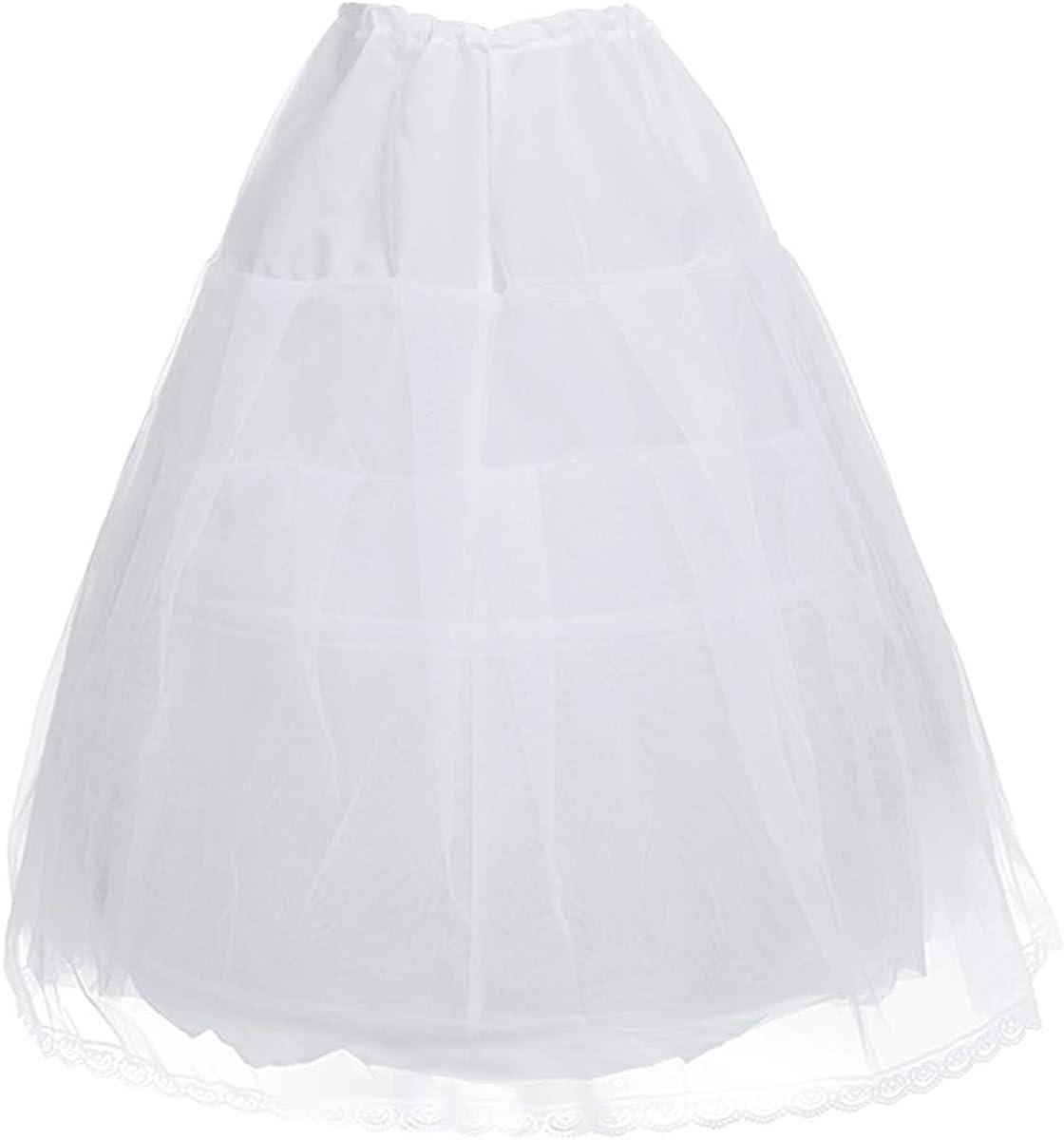 JanJean Girls 3 Layers 2 Hoop Petticoat Underskirt Crinoline Slip for Flower Girls Wedding Dress