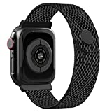 CCnutri Compatible with Apple Watch Band 38mm 40mm, Stainless Steel Loop Metal Mesh Bracelet with Adjustable Magnet Lock Wristbands for iWatch Series 1/2/3/4/5,Black