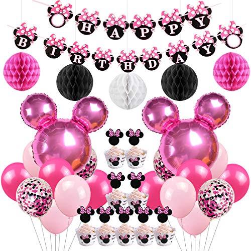 Jollyboom Artículos de Fiesta de cumpleaños con temática de Minnie Decoraciones Globos de Minnie Envolturas de Cupcake Envolturas para el Primer, Segundo y Tercer cumpleaños