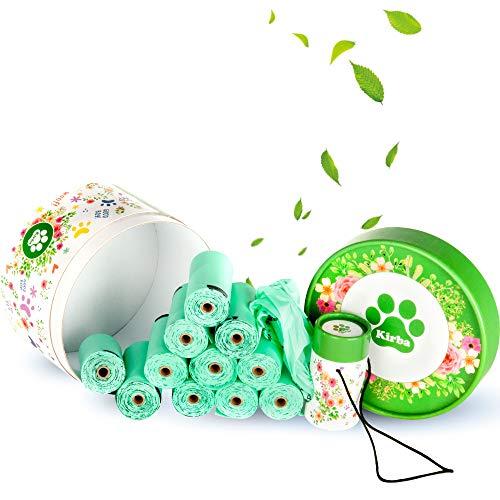 Kirba Trading - Bolsas con olor agradable para excrementos de perro - Especialmente resistentes y biodegradables - Incluye dispensador de carton
