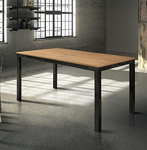 Milani Home s.r.l.s. Tavolo da Pranzo Moderno di Design Allungabile Cm 80 X 140/200 Rovere Struttura Nera Piano Naturale per Sala da Pranzo