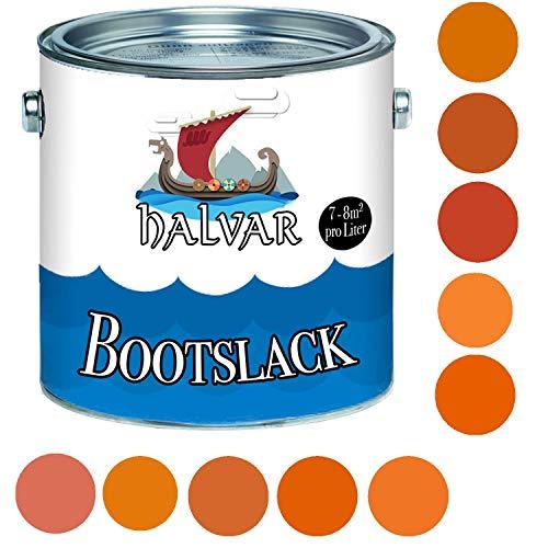 Halvar Bootslack Orange RAL 2000-2012 Yachtlack SEIDENMATT Bootsfarbe PU-verstärkt für Holz & Metall verstärkt extrem belastbar hochelastisch Schiffslackierung (2,5 L, RAL 2010 Signalorange)