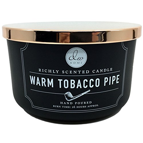 DW Home Large Warm Tobacco Pipe Richly Scented Candle with Three Wicks