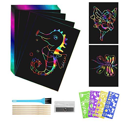LinStyle Scratch Art, 50 Hojas Dibujo Scratch Art Creativas Scratch Art para niños, Obras De Arte De Raspado con Plantillas para Dibujar, Estilográficas De Madera, Reglas De Dibujo y Sacapunta