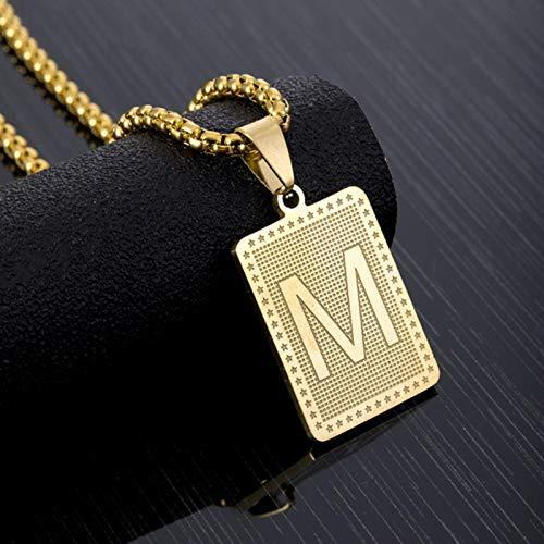 Collar con Colgante de Letras cuadradas a la Moda de Hip Hop para Hombres, joyería de Acero Inoxidable Estilo Rock, Letra del Alfabeto, Regalo de 60 cm