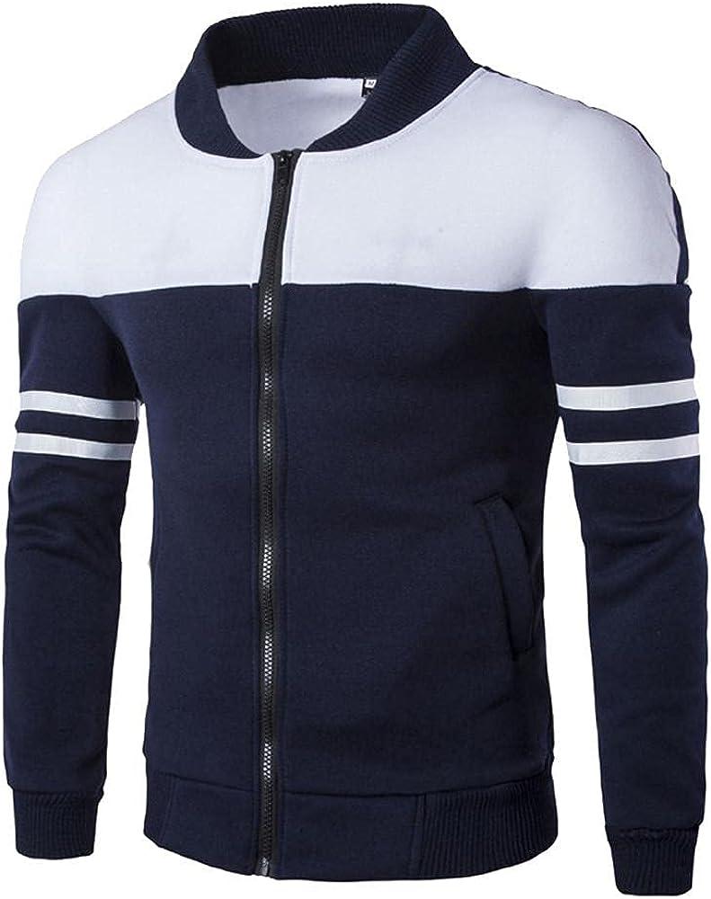 Fashion Men's Autumn Winter Color Splicing Zipper Sportswear Patchwork Stand Collar Jacket Long Sleeve Coat
