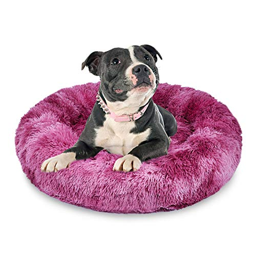 AIPERRO Dog Bed Donut Cuddler Cat Bed Soft Plush Fluffy Indoor Calming Pet Bed, Anti-Slip & Anti-Anxiety, Self Warming for Puppy and Kitties (23 inch, Red Tie-Dry)