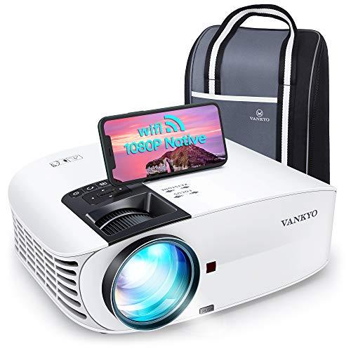VAN KYO Leisure 510PW Proiettore WiFi 5Ghz Videoproiettore 1080P Nativo 64° Correzione 7500 Lux, 2 Altoparlanti, con Borsa Portatile per iOS Android TV Stick PS4